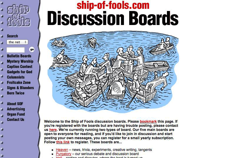 Ship of Fools bulletin boards in 2000