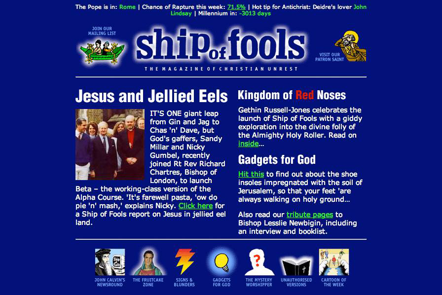 Ship of Fools website at launch, 1998