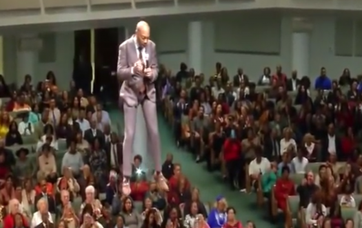 Pastor Orr dangles above his congregation in Mississippi