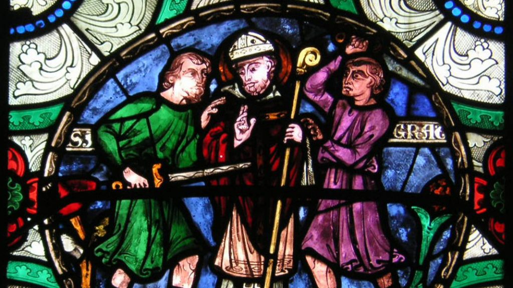 Stained glass of the murder of Thomas Becket