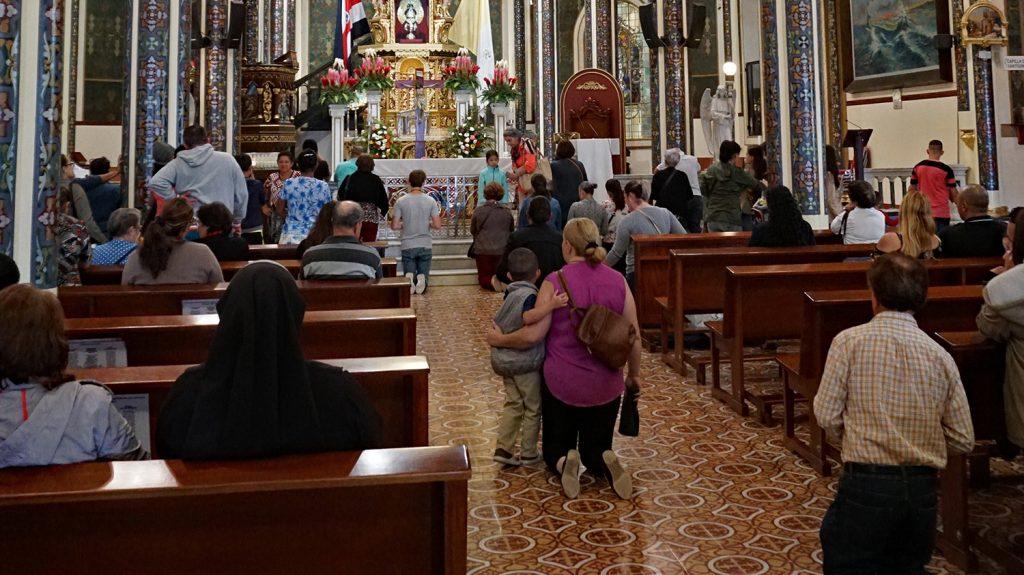 Pilgrims in the Basilica of Cartago, Costa Rica